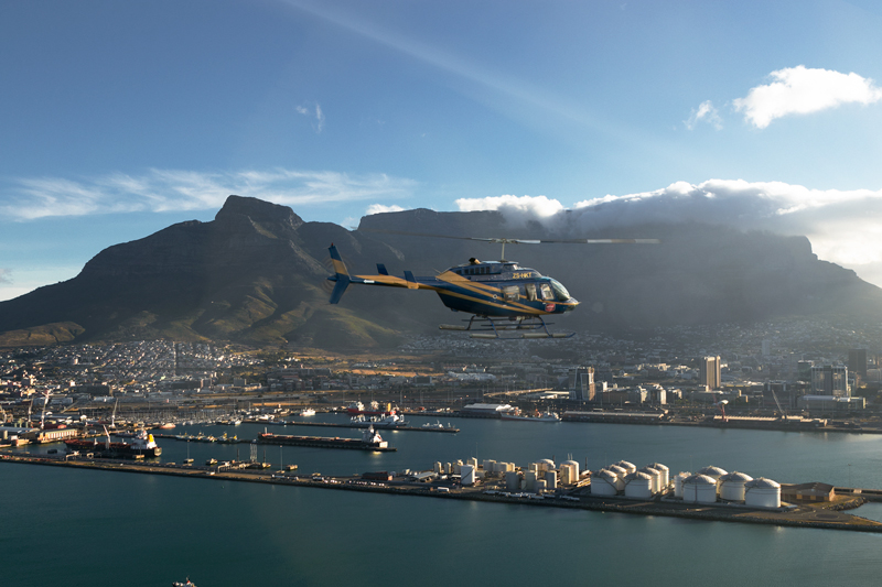 Helicopter flight in Cape town Table Mountain